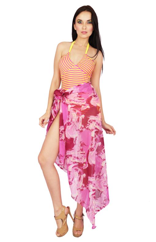 Pink Floral Print Sarong